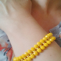 FREE SHIPPING Sparkly and Bold Beaded Summer Bracelet - Yellow Bead Bracelet - Yellow Crystal Bracelet - Great Girlfriend Gift - Wedding