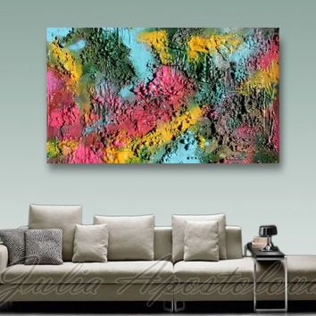 Sculpture Wall Art, Turquoise Large Original Abstract Painting, Mixed Media, Rich Unique Texture, Colorful, Pink, Blue, Custom Order