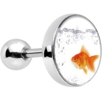 "16 Gauge 1/4"" Steel Bubbly Bowl Goldfish Cartilage Tragus Earring"