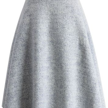 Chic Wool-blend A-line Skirt in Grey