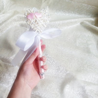 Flowergirl wand white baby pink wedding rattan heart, butterfly, satin handle, sparkling Flower girl, custom