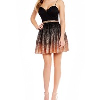 B. Darlin Foil-Dipped Lace Fit-And-Flare Dress | Dillards