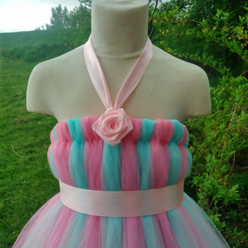 Aqua and pink tutu – empire waist tutu – flower girl tutu dress – baby tutu dress –  tutu dress – party tutu dress – birthday tutu dress