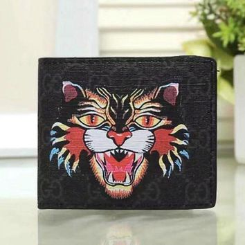 PEAPUP0 GUCCI Woman Men Fashion Angry Cat Clutch Bag Leather Purse Wallet2