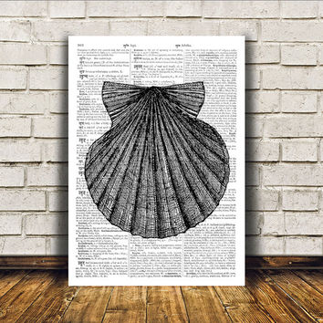 Seashell poster Nautical art Marine print Beach house decor RTA36