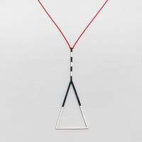 "Geometric silver necklace. ""False Warnings"" collection. Statement necklace.Handmade."