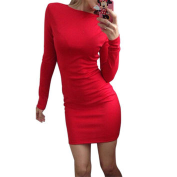 2016 Autumn Dress Women Solid Color Package Hip Dress Ukraine Casual Long-sleeved Plus size Club Party Dresses