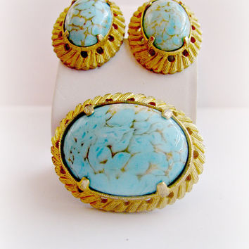 Turquoise Blue Brooch Set, Signed Weiss, Pin and Clip Earrings, Hubbell Art Glass, Demi Parure, Robin Egg, Brushed Gold