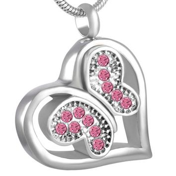 MJD8563Lovely Crystal Butterfly in Heart Cremation Jewelry Pet Ashes Memorial Urn Necklace Locket for Women