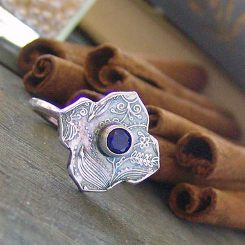 Moroccan Twilight hand stamped fine silver and gem stone custom ring