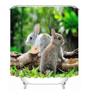 MYRU 3D Print Waterproof Rabbit Shower Curtains Bath Products Bathroom Decor with Hooks