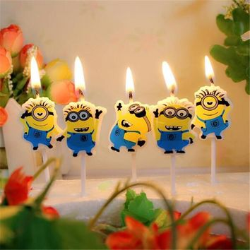 5PCS/pack Candle Design Lovely Minion Cartoon Cute For Boy and Girl's Happy Birthday Party SuppliesFor Baby shower