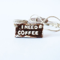 Coffee Accessories Coffee Lovers Brown Clay Handmade Pendant Rustic Jewelry Woodland Necklace Handmade Car Accessories Engraved Pendant