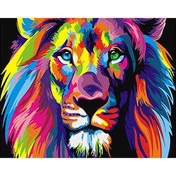 Frameless Colorful Lions Animals DIY Painting By Numbers Modern Abstract Hand Painted Oil Painting Unique Gift For Children