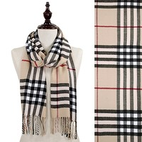 HauteChicWebstore Traditional Plaid Oblong Scarf with Fringe in Beige - www.shophcw.com
