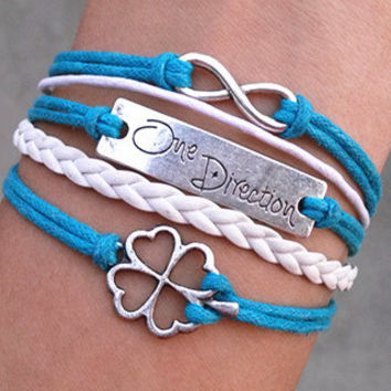 One Direction Bracelet, Infinity, Infinity Wish, One Directioner, Shamrock, Four-Leaf Lucky Clover, Friendship Gift