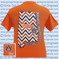 Auburn T-Shirt: State Chevron (Short Sleeve) [t-au-state_chevron] - $16.99 : Girlie Girl™ Originals - Great T-Shirts for Girlie Girls!