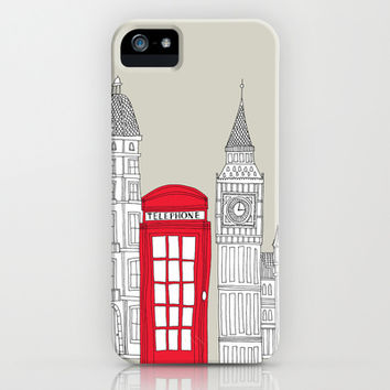 London Red Telephone Box iPhone & iPod Case by Bluebutton Studio