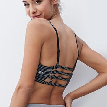 Low Impact - Striped Cage-Back Sports Bra