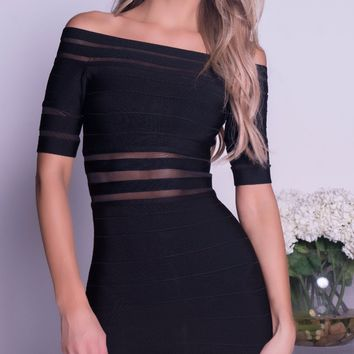 JOSHA BANDAGE DRESS IN BLACK WITH MESH INSERT