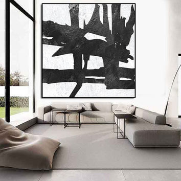Large Abstract Painting, Abstract Painting Extra Large Canvas Art, Original Black and White Geometric Art, Acrylic Painting on canvas