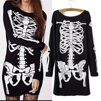 Skeleton Bone Print Long Sleeve Mini Bodycon Dress
