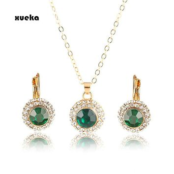 2017 Hot Sale Fashion Round Gold Color Crystal Pendants Necklace/Earrings Wedding Accessories Jewelry Sets For Women Purple