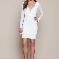 IVORY PLUNGED BODYCON DRESS