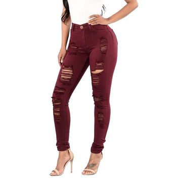 Faded Red Swann - Signature Collection Women's Custom Red Color Washed Jeans