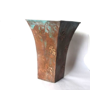 Vintage verdigris unique copper vase. Rustic copper planter with embossed leaves. Rustic home decor.