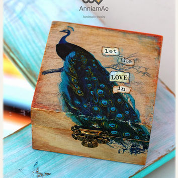 personalized ring box:  Distressed wooden box with blue peacock, ring bearer, custom engagement box made to order