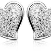 Sterling Silver Cubic Zirconia Pave Heart Stud Earrings (0.81 cttw)