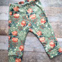 Organic Baby Leggings, Baby Leggings, Baby Girl leggings, Floral leggings, Fall Baby, Leggings, Baby Girl Clothes, Baby GIrl Pants,