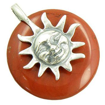 Positive Energy Happy Sun Believe Amulet Red Jasper Pendant