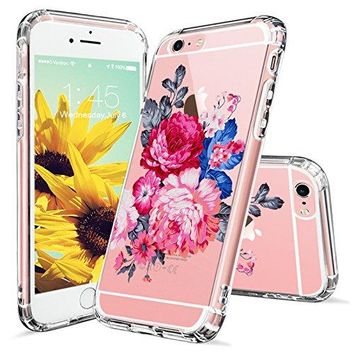iPhone 6s Case, Clear iPhone 6 Case, MOSNOVO Peony Floral Flower Printed Clear Design Transparent Plastic Hard Slim Back Case with TPU Bumper Protective Case Cover for Apple iPhone 6 6s (4.7 Inch)