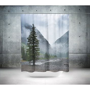 Pine Tree and Mountain Range Shower Curtain