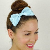 Dolly Bow Blue Hair Bow Headband stretchy Headband Blue Bow Headband Huge Hair Bow Women Headband Satin Ribbon baby Blue headband elastic