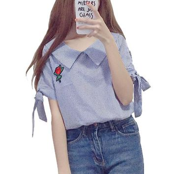 Japanese style student girls striped blouse shirt 2018 summer vintage flower embroidery women tops and blouses bandage blusas