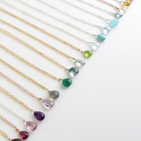 Tiny Gemstone Necklace Layering Jewelry Delicate Gemstone Drop Bridesmaid Gift Simple Gem Drop Layering Necklace Personalized Jewelry