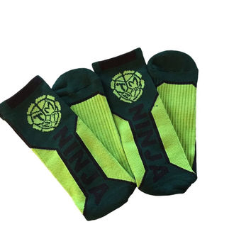 TMNT Teenage Mutant Ninja Turtles Text Logo High Performance Active Crew  Socks