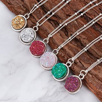Handmade Drusy Resin Cabochon Round Pendant Necklace