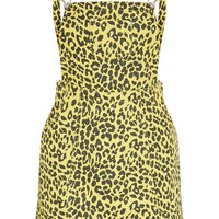 Yellow Leopard Denim Pinafore Dress