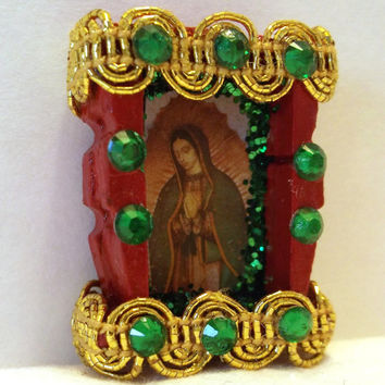 Virgin of Guadalupe Jewelry Brooch-Our Lady of Guadalupe Decoration-Day of the Dead Mini Nicho-Dia De Los Muertos Altar
