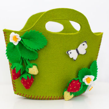 Strawberry purse handbag with strawberry spring blossoms for little (and big) girls in kiwi green. Can be personalized with name.