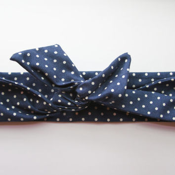 Navy Polka Dot Dolly Bow Tie Up Wire Headband, Hair Wrap. Teens, Adults, Children's Hair Wraps
