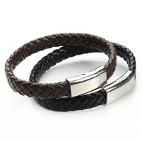 2016 New Handmade Black & Brown Genuine Braided Leather Bracelet Magnetic Clasps Bracelets & Bangles for Men Pulseiras F2890B