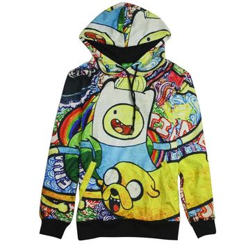 Adventure Time Sweatshirts Long sleeve with hat  Women Finn Jake Hoodies Cartoon Hoody Pullover Coat plus size