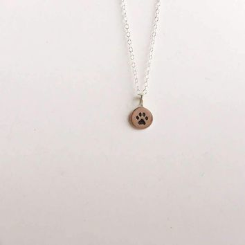 Sterling Silver Paw Print Stamp Necklace