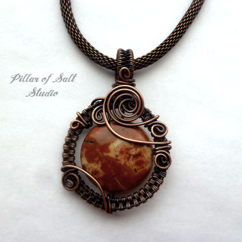 Wire Wrapped pendant, Bird's Eye Rhyolite gemstone, copper jewelry, wire wrapped jewelry handmade, woven wire jewelry, earthy jewelry