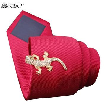 Stainless Steel Tie Bar Clip Animal Lizard Pattern Silver Gold Tie Clasp Pin Design for Men